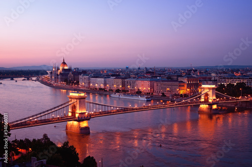 View of Chain Bridge from Hungarian Parliament  Buda Castle.