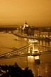 Color toned image of Budapest skyline at night.