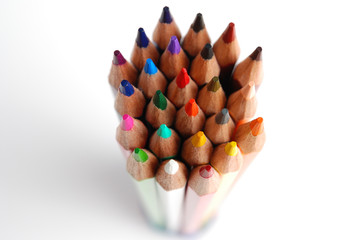 Colored pencils top view