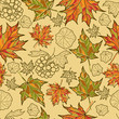 Seamless vector autumn leaves pattern. Thanksgiving