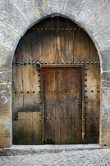 Old door medieval.Ainsa.Huesca,Spain