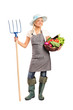 Female farmer holding a pitchfork and basket with vegetables