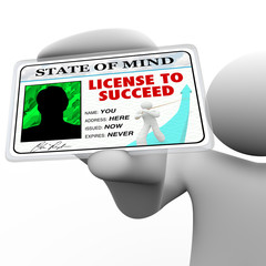 License to Succeed - Successful Man Holding Special Badge