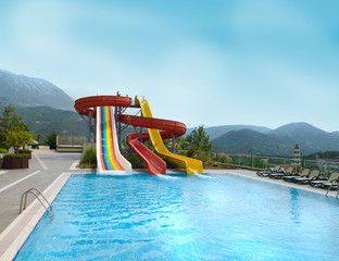 Hills. An aquapark.