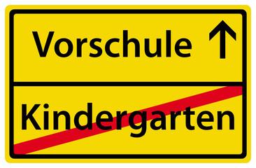Vorschule nach Kindergarten Ortsausgangsschild