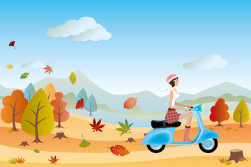 Autumn landscape and scooter woman
