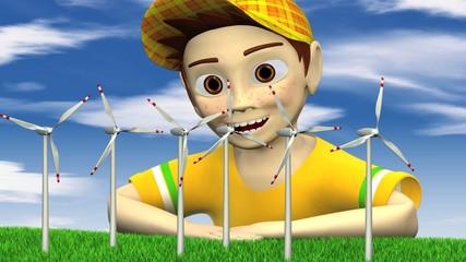 Junge pustet Windräder an