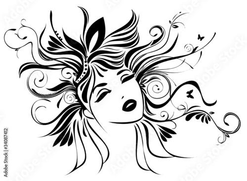 Frau mit Haar aus Pflanzen