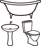 set of bathroom elements
