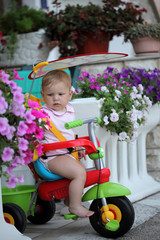 Baby girl on her first bike