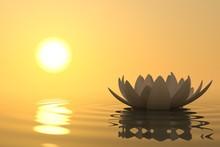 Zen fleur de lotus sur le coucher du soleil