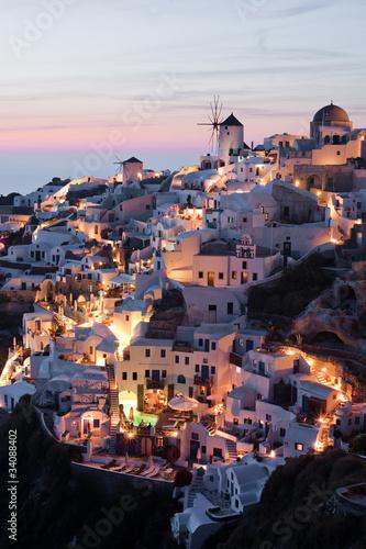 Illuminated Oia village