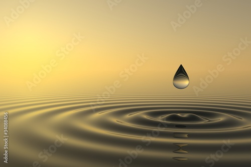 Kropla Zen wpada do wody