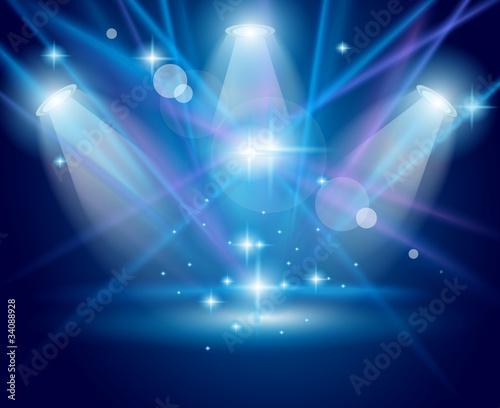 Kouzelná reflektory s Modré paprsky a zářící efekt