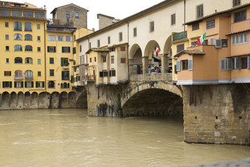 Rainy View of Ponte Vecchio and river Arno