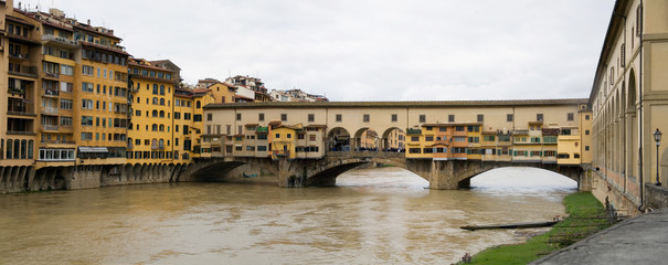 Rainy Panorama View of Ponte Vecchio and river Arno