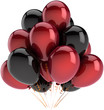 Party balloons decoration of birthday multicolor red and black