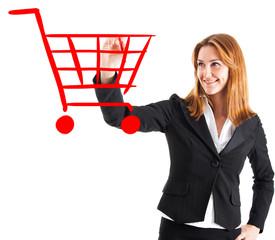 Woman drawing a shopping cart