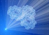Gears. Blue radial technology hologram poster