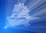 3d house: blue radial technology hologram poster