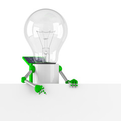 solar powered light bulb robot - blank banner