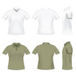 Realistic men's polo t-shirts from three angles