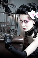Junge Frau mit leerem Käfig