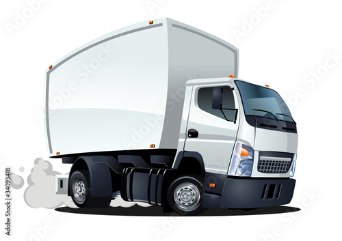 Foto op Canvas Cartoon cars vector cartoon delivery / cargo truck