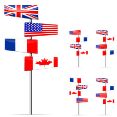 set of UK USA France and Canada road sign