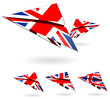 uk paper planes isolated on white background