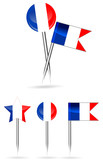 france flag and round pin isolated on white background