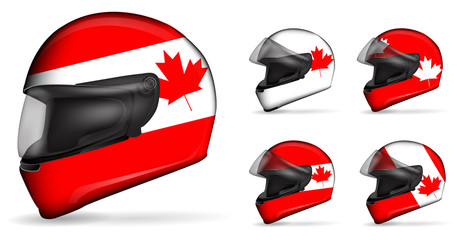 set of canada motorcycle helmet isolated on white