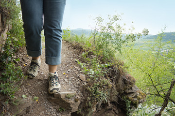Hiker at Calmont trail, Mosel, Germany