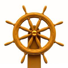 Steering wheel on white