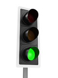 3d Traffic light at green