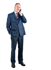 Full length businessman talking at the phone