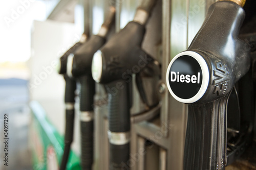 Leinwandbild Motiv Tankstelle Diesel