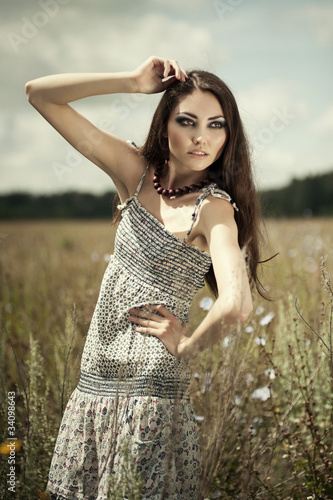 Sensual woman in field