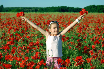 girl on the poppy field