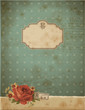 vintage background or greeting card with stained paper and rose