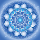 abstract blue pattern, mandala of vishuddha chakra vector poster