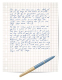 script on copybook paper and pen vector poster