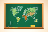 school background with geography map drawing on blackboard, vect poster