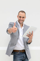 businessman with electronic tablet