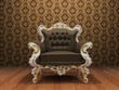 Leather Luxurious armchair in old styled interior with ornament