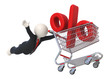 3d guy flying with shopping cart and percent sign - Isolated