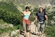 Couple hiking in the mountains, steadicam shot