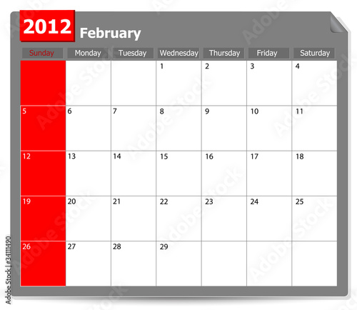 calendar of February 2012 isolated on white background