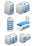 3d building icons set vector