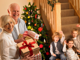 Senior couple with grandchildren at Christmas